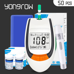 Yongrow meter 50pcs Test Strips Blood Glucose Meters Needles Lancets Sugar Monitor Collect Blood Glucometer mg/dl health care(China)