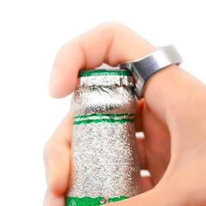 Creative Ring Stainless Steel Beer Bottle Opener Bar Tool Creative Versatile Finger Ring-Shape Beer Bottle Opener Bartender Tool