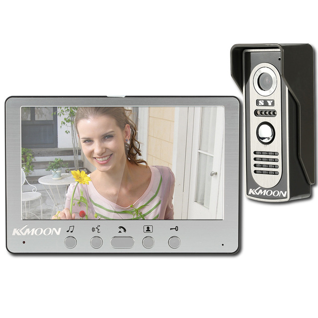 KKmoon Visual Intercom Doorbell 7 TFT LCD Wired Video Door Phone System Indoor Monitor 700TVL Outdoor IR Camera Support Unlock