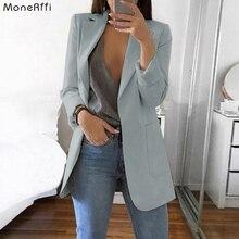 MoneRiff Spring Autumn Slim Fit Women Jackets Blazer Pockets Office Work Jacket