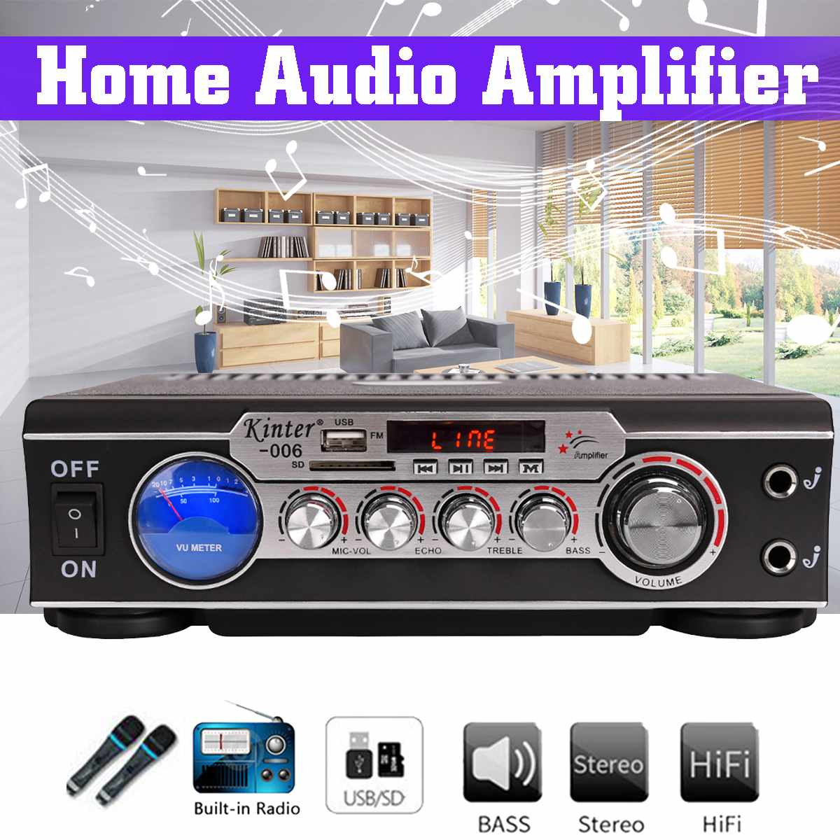 Kinter 200W Mini 2CH Digital Power Audio Amplifier 220V/12V USB SD FM Radio Music Stereo System Theater Amplifiers For Car Home