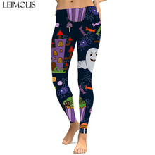 LEIMOLIS sexy gothic Halloween ghost print push up leggings plus size women fitness workout punk high waist spandex leggins