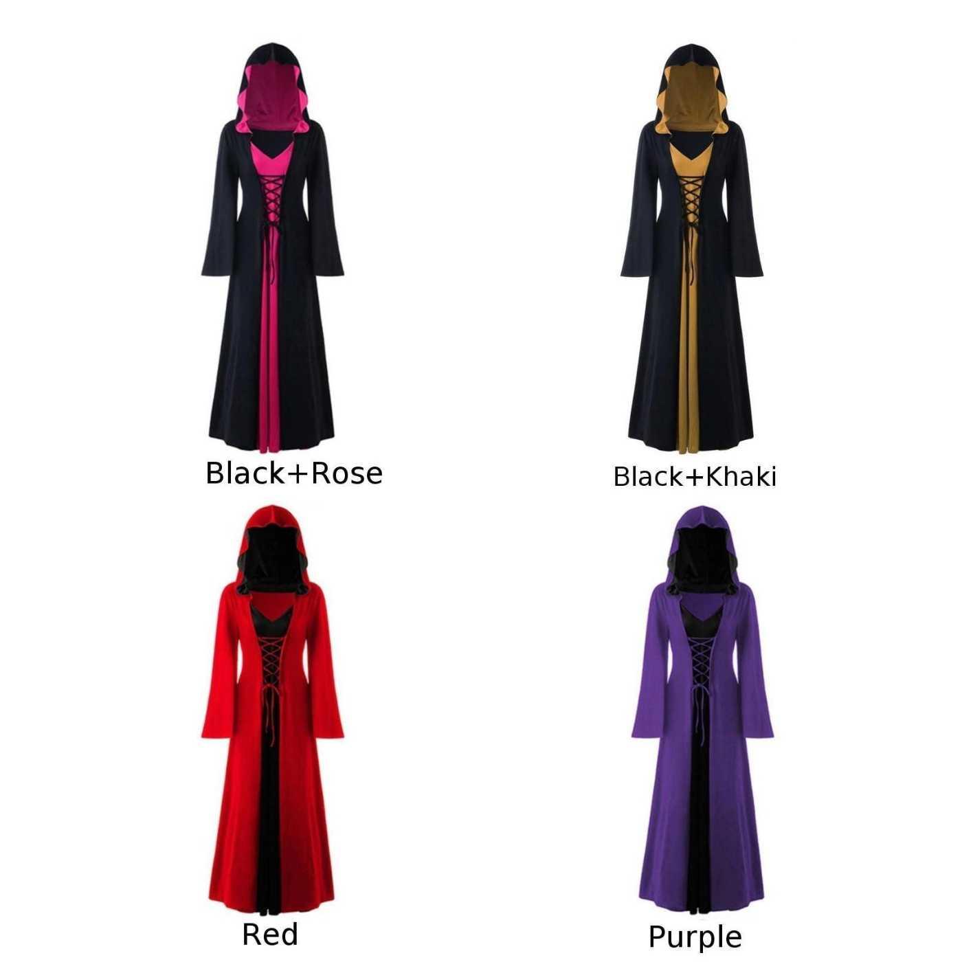 Женское многоцветное платье с длинным рукавом, с капюшоном, на шнуровке, с v-образным вырезом, готическое, панк, платья на Хэллоуин, Осень-зима, длинное, в стиле стимпанк, готическое платье