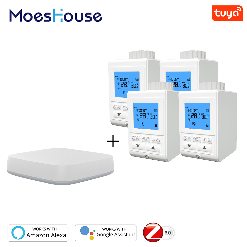 Zigbee Thermostat Smart TRV Thermostatic Radiator Valve Controller Heater Temperature Voice Control Works with Alexa Google Home 1