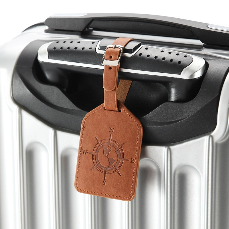 1 Pc Compass Leather Suitcase Luggage Tag Label Bag Pendant Handbag Portable Travel Accessories Name ID Address Tags