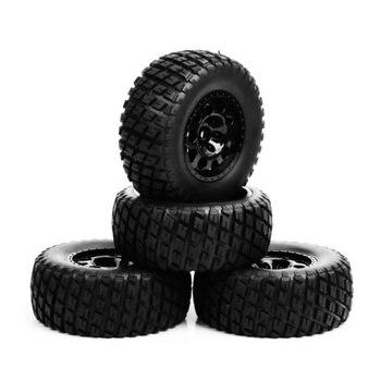 Rc Wheel 1:10 Short Course Truck Tires Set 1/10 Tyre Wheel Hub 4 pcs/Set For  Slash Tires HPI on the field Car Parts