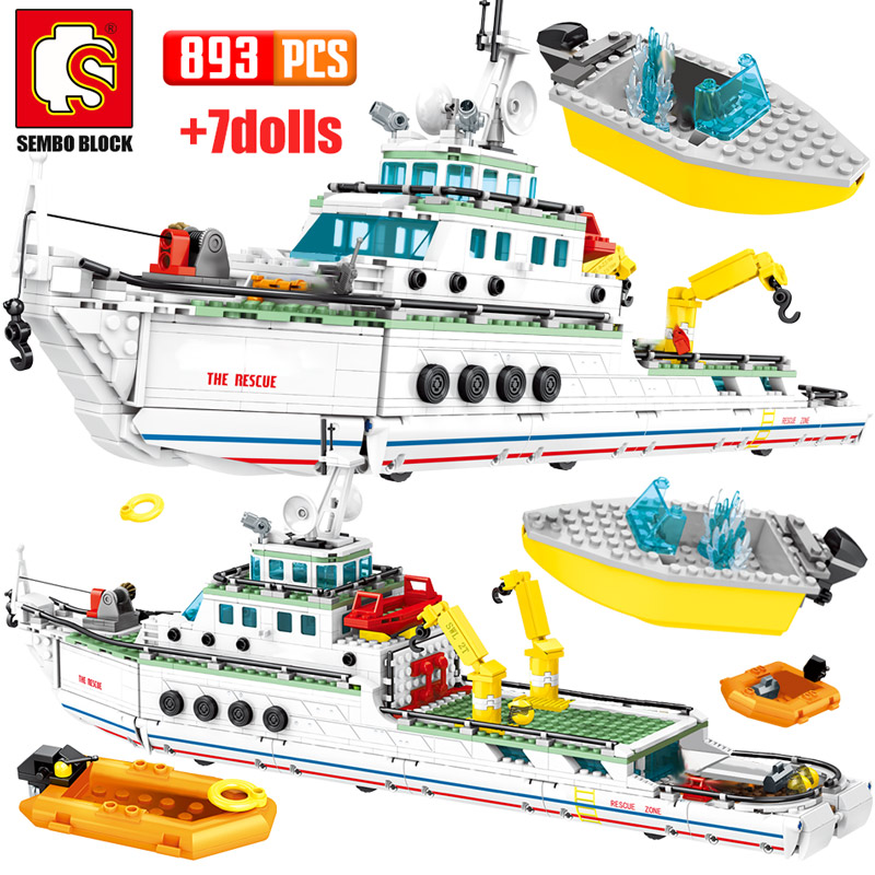 SEMBO 893PCS City Police Assembly Ship Model Building Blocks Military Emergency Rescue Boat Figures Bricks Children Toys