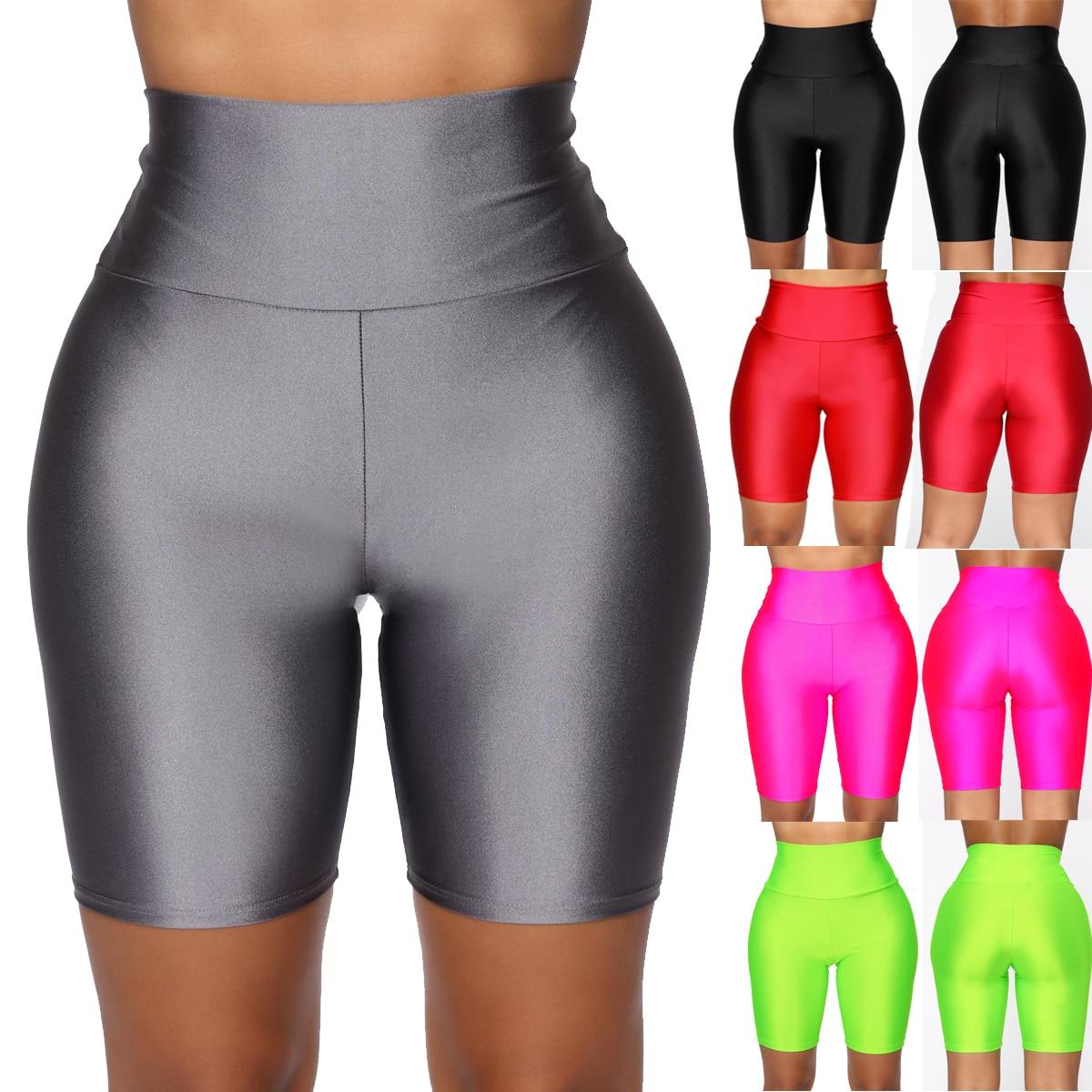 2020 High Waist Neon Yoga Shorts Women Workout Fitness Hip Training Elastic Spandex Shorts Skinny Running Cycling Sportwear