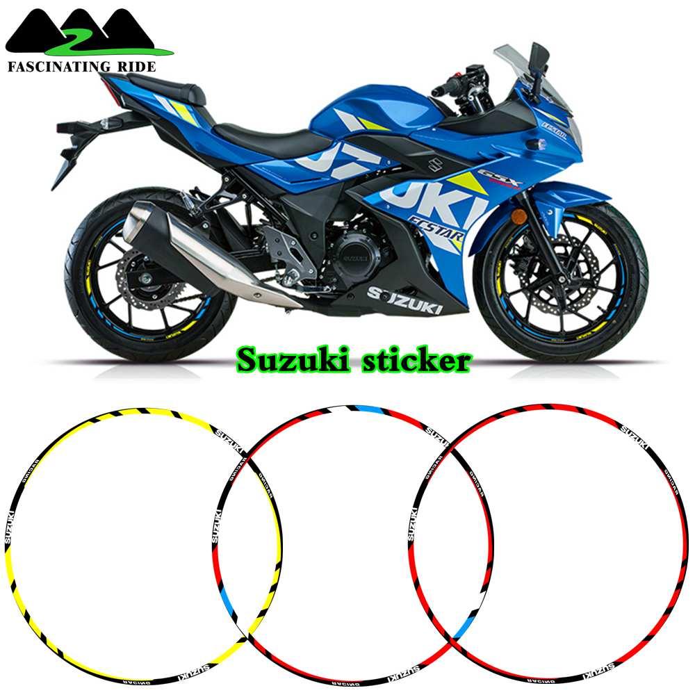 12 X Thick Edge Outer Rim Sticker Stripe Wheel Decals FIT All Suzuki GSXR 250 400 600 1000 750 GSXR1000R GSXR1000 GSXR600 750