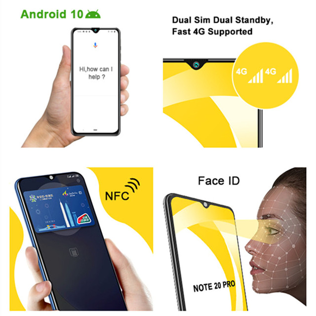 CUBOT Note 20 Pro Cell Phone 8+128GB Rear Quad Camera 12MP NFC Smartphone 4g 6.5″ HD Display Android 10 Telephone 4200mAh 6