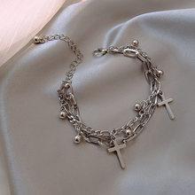 Gótico hip hop metal cruz pingente charme pulseira para as mulheres do sexo feminino contas 2 camadas ligados pulseiras de corrente legal jóias presente