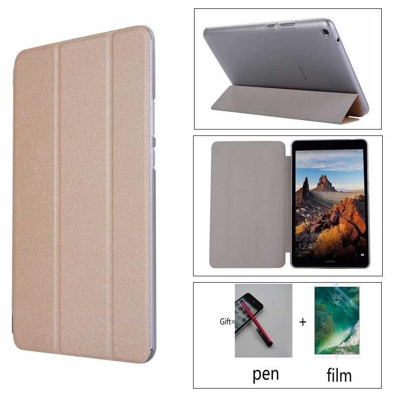 Transparent + Pu Case Stand PU Leather Case For Huawei MediaPad T3 8.0 KOB-L09/KOB-W09 Honor Play Pad 2 8.0 Inch Tablet Cover
