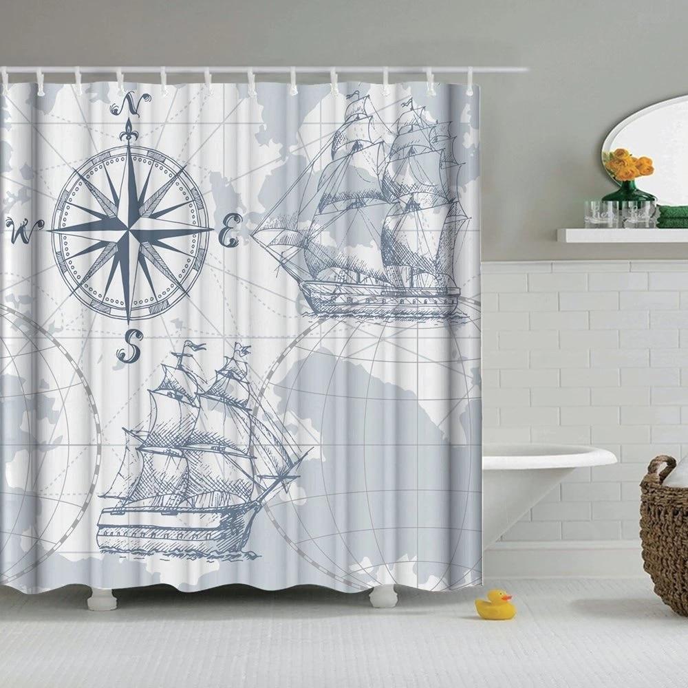 dafield nautical shower curtain sail old boat sketch ship wheel compass anchor marine bathroom set with hooks