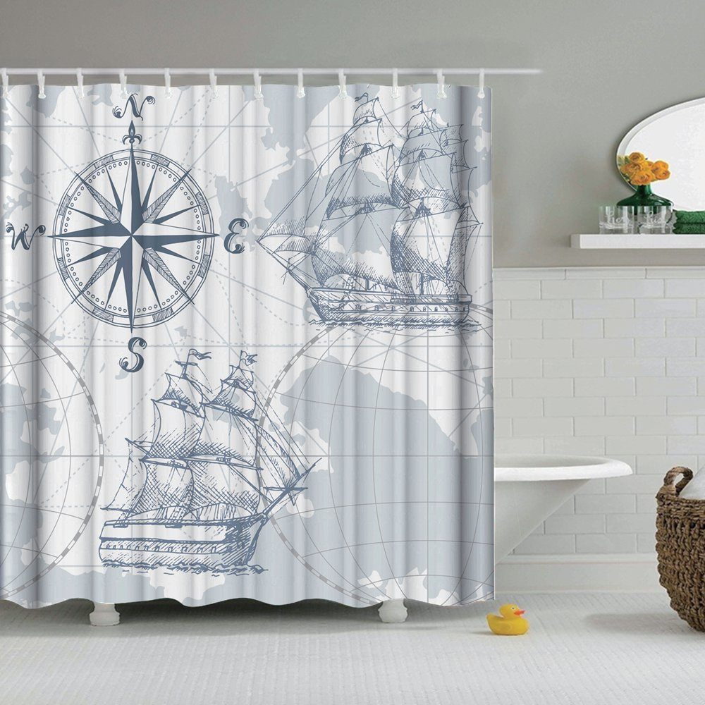 "72/"" Old Style Compass Pattern Bathroom Waterproof Fabric Shower Curtain Set Hook"