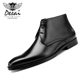 Plantilla de lana negro/Tan botas de tobillo para hombre Botas de vestir de negocios de cuero genuino Otoño Invierno botas calientes Hombre Zapatos formales con cordones