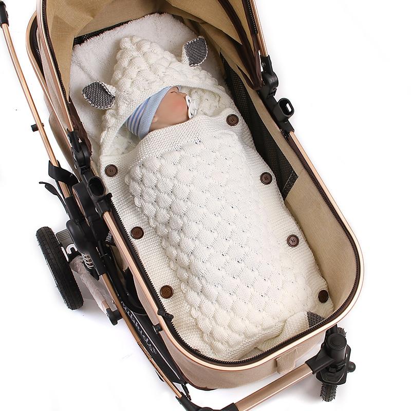 Baby Sleeping Bag Boy Girl Acrylic Sleeping Bag Solid Color Thicken Design Anti-kick Envelope Style Hoodie Sleeping Bag