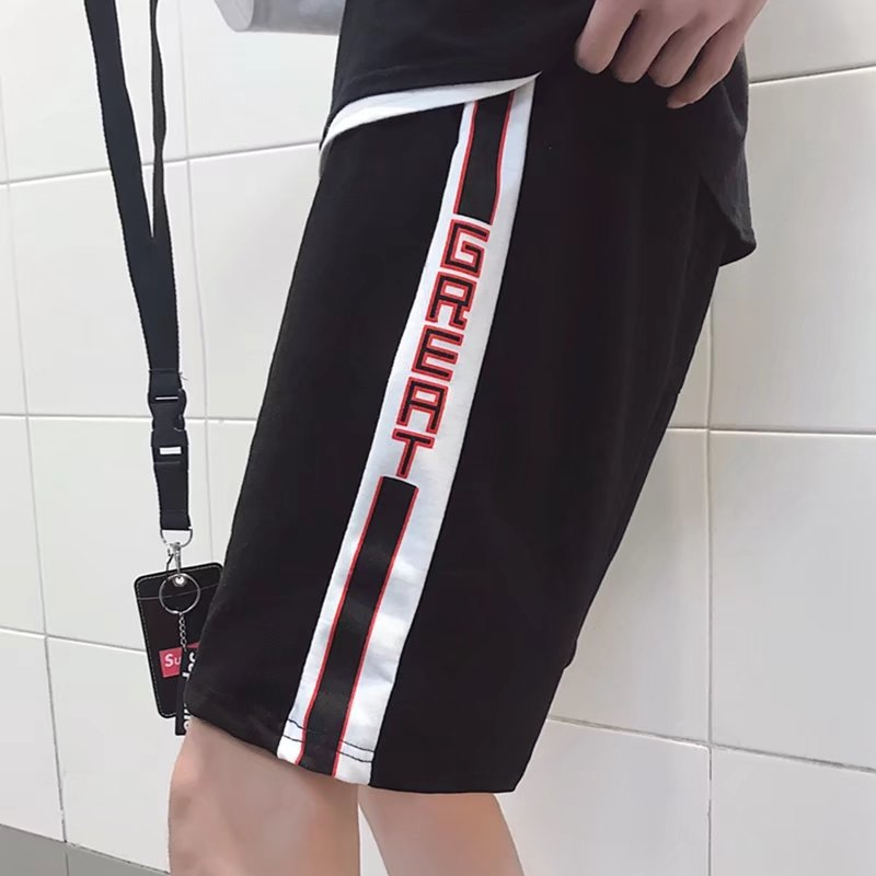 MEN'S WEAR 2018 Spring And Summer Popular Brand Street Contrast Color Lettered Side Stripes Retro Athletic Pants Men's Casual Sh