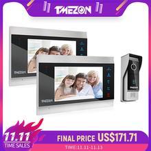 TMEZON 7 אינץ TFT Wired חכם וידאו פעמון אינטרקום מערכת עם 2 ראיית לילה צג + 1x1200TVL אטים לגשם דלת טלפון מצלמה