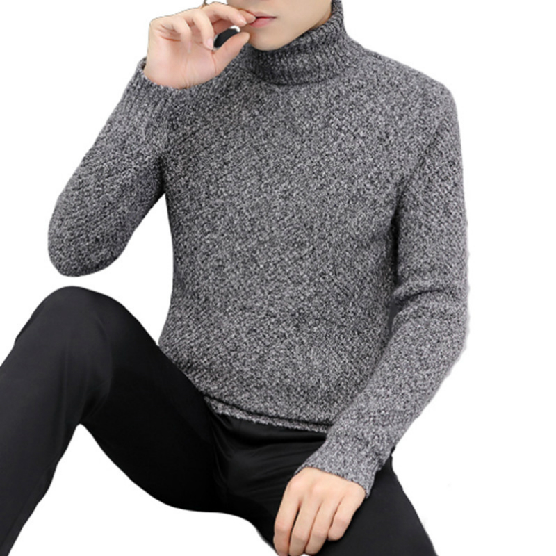 New Mens Sweaters Winter Turtleneck Warm Casual Knitted Pullovers Fahsion Turtleneck Mens Sweaters 2019 Pull Homme Sueter Hombre