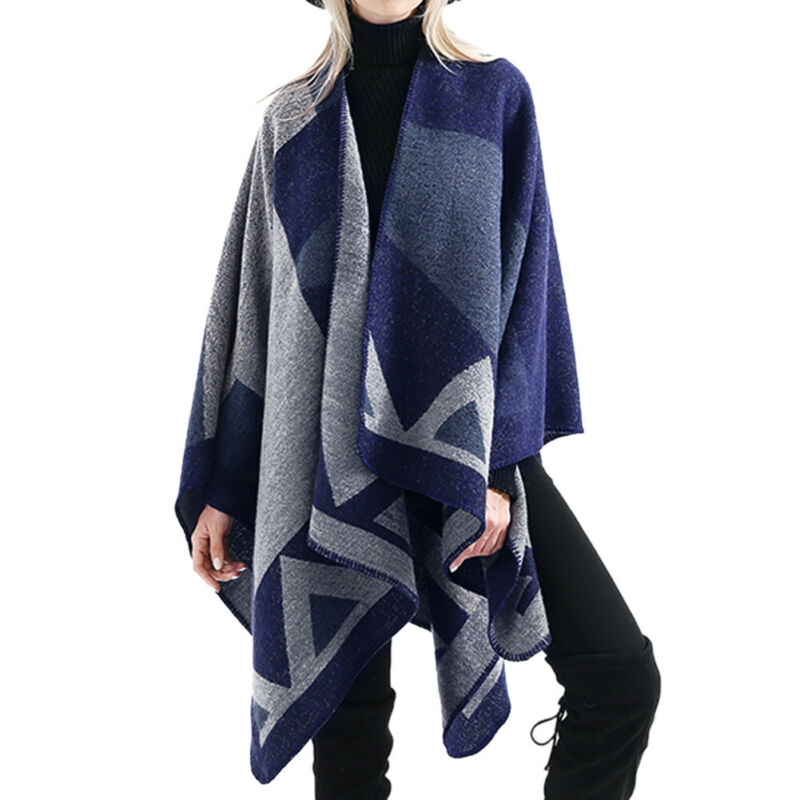 Women's Winter Poncho Geometric Print Vintage Blanket  Synthetic Wool Shawl Cape Cashmere Wrap Scarf Long Sleeve Open Cardigans