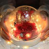 Натуральный сохраненный цветок Роза подарок на день Святого Валентина эксклюзивная Роза в стеклянном куполе с огнями вечная настоящая Роз...