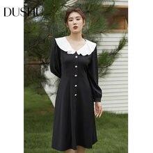 Женское винтажное длинное платье с оборками dushu черное облегающее