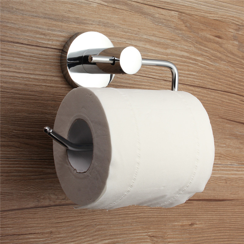Chrome Polished Stainless Steel Bathroom Toilet Roll WC Paper Holder Mount Hook Wall Mounted Tissue Towel Shelf Rack