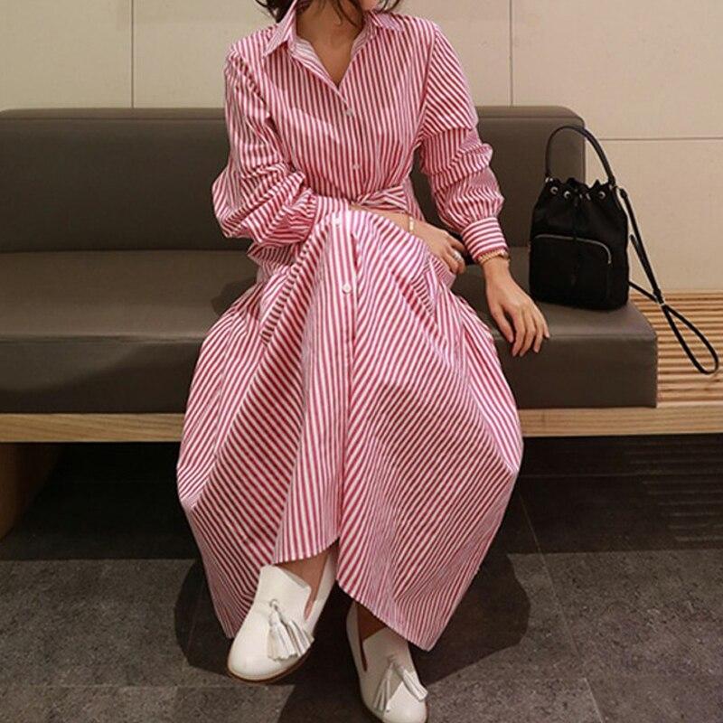 RealShe 2019 robe Vintage femmes revers boutons à manches longues robe dames printemps automne élégant robes décontractées Vestidos - 3