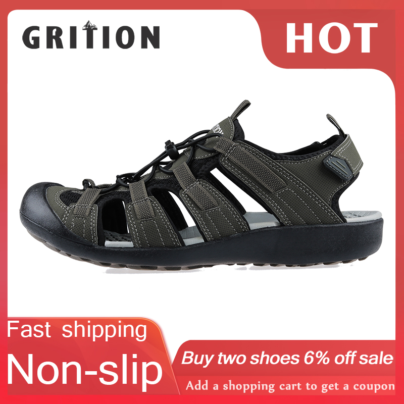 GRITION Summer Shoes Beach-Sandals Clog-Design Casual Comfortable Male Fashion 46 Toe-Cap