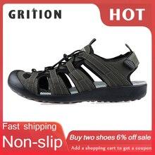 GRITION 여름 신발 남자 비치 샌들 발가락 모자 남성 방해 디자인 품질 캐주얼 편안한 패션 스포츠 신발 큰 크기 46 2020