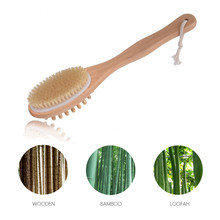 Exfoliating Wooden Body Massage Shower Brush Natural Bristle Bath Brush SPA Woman Man Skin Care Dry Body Brush Bathroom Tool