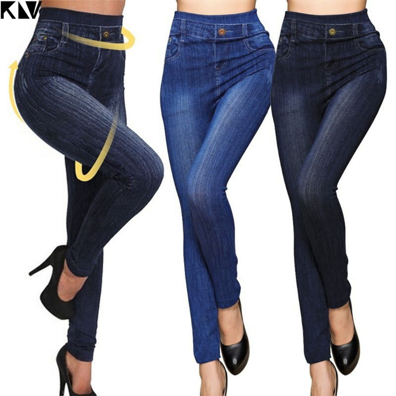 Plus Size Women Fashion Classic High Waist Slim Leggings Imitation Jean Skinny Jeggings Seamless Skinny Workout Pants Hot Sale
