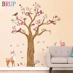 145*170cm Cartoon Animals Tree Wall Sticker for Kids Room Hand Painted Watercolor Birds Deer Wallpapers Lovely Flower Wall Decal