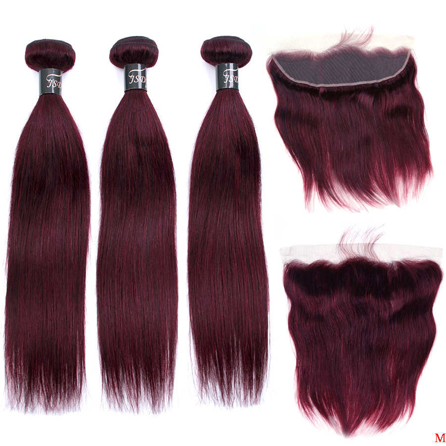 JSDShine 99j Brazilian Straight Hair Bundles With Closure Red Burgundy Human Hair Weave Bundles With 13x4 Lace Frontal Non-Remy