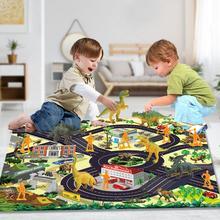 Children's dinosaur toy simulation animal model Dinosaur Park doll game mat carpet scene 17 sets plesiosaur model plastic doll simulation dinosaur hand model toy
