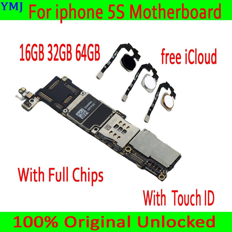 16GB 32G 64G Freies iCloud für iphone 5S Motherboard, 100% Original entsperrt für iphone 5S Mainboard mit Touch ID/ohne Touch ID