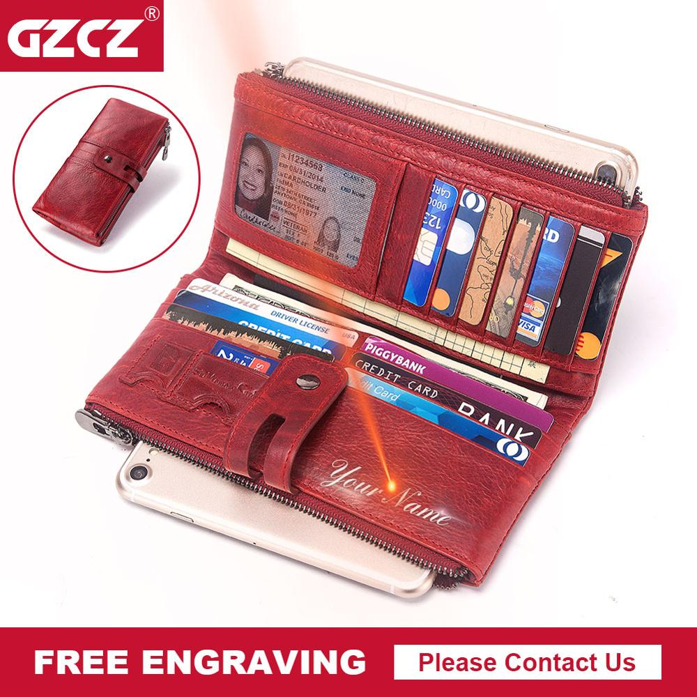 GZCZ New Genuine Leather Women Wallet Long Zipper Lady Handy Purse Cell Phone Pocket Clamp For Money Money Bag Free Engraving