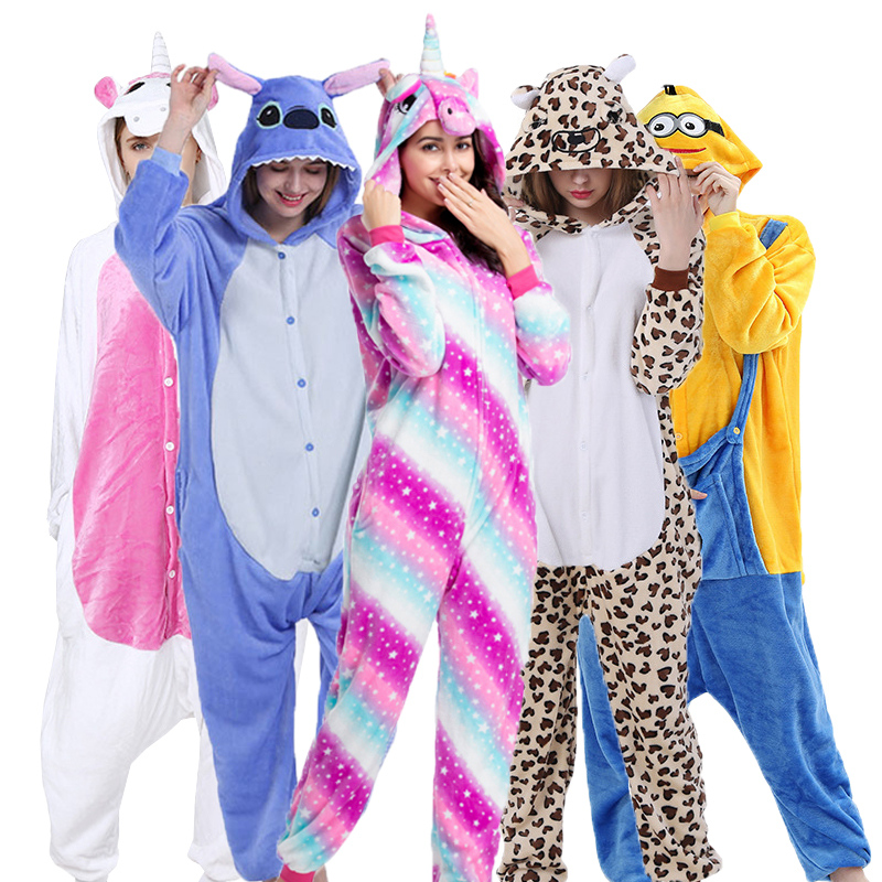 Flannel Unicorn Pajamas Adults Children Kigurumi Stitch Totoro Animal Pyjama Anime Cosplay Onesie Cartoon Women Sleepwear