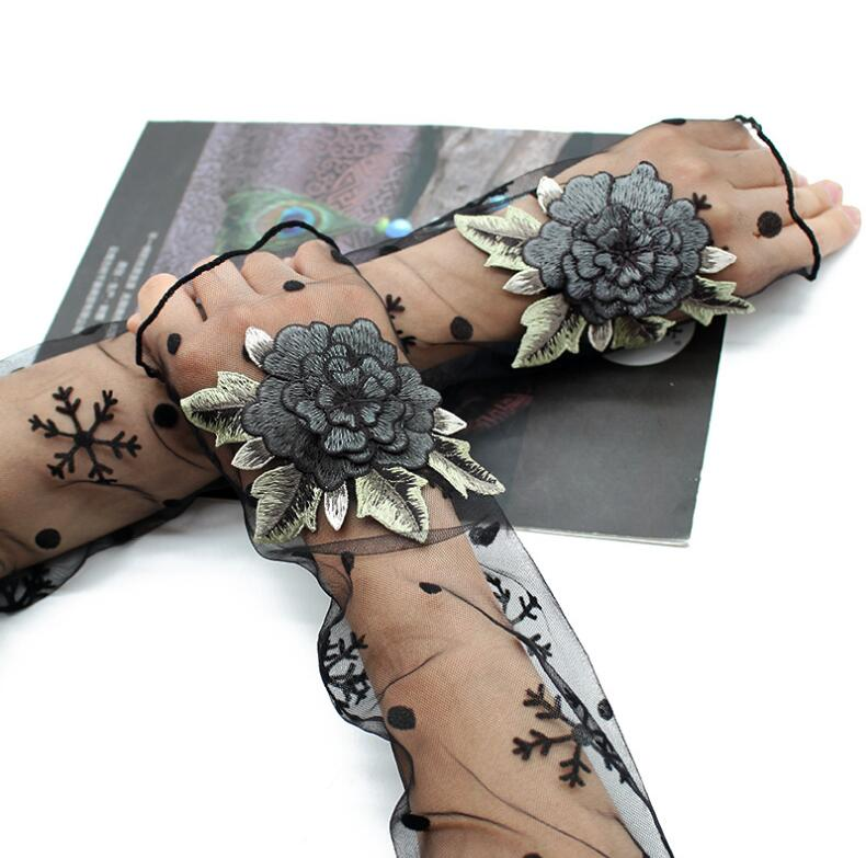 Women's Sexy Flower Embroidery Transparent Mesh Glove Female Spring Summer Sunscreen Sexy Long Black Glove 50cm R2069