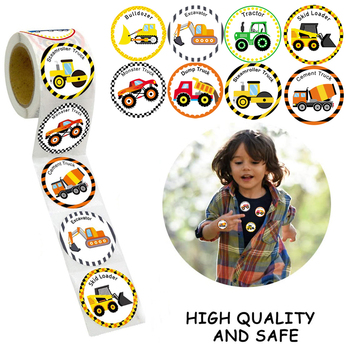Truck Stickers for Kids Perforated Stationery Construction Car Birthday Party For student Children 500PCS/Roll 2020 New - discount item  21% OFF Stationery Sticker