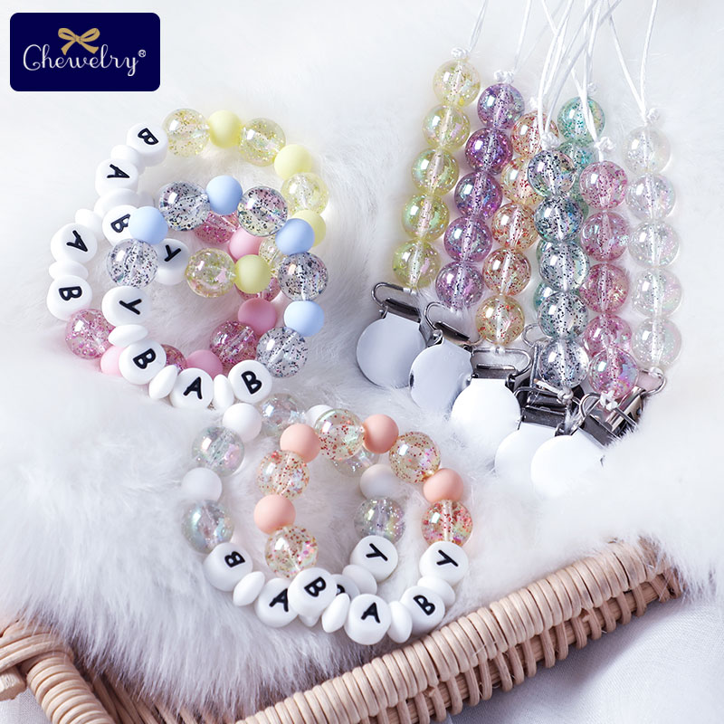 Baby Teether Personalized Bracelet Pacifier Chain Clips Acrylic Silicone Alphabet Beads Pacifier Toys For Children Products Gift