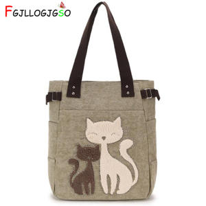 FGJLLOGJGSO Canvas-Bag Messenger-Bag And Handbags Women Purses Cat-Printing Ladies Brand