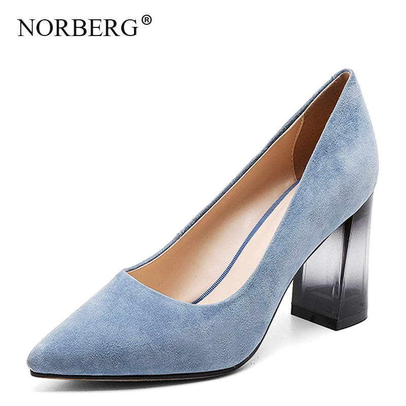NORBERG Women Shoes Pump High-Heeled Square Pointed Fashion-Style New Autumn Sheepskin