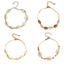 4 Pcs/ Set Bohemian Handmade Natural Shell Rope Anklets Colorful Beads Adjustable Foot Chain Jewelry