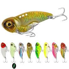 Metal vib lure 3d olhos lápis balanceador colher gabarito pintura pesca isca dura equipamento de pesca afundando vibração iscas poleiro pesca