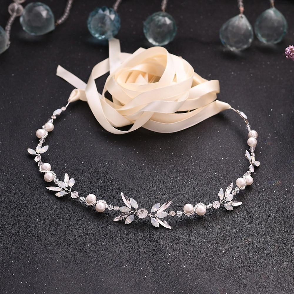 TRiXY SH132 Rhinestone Belts Wedding Belts Pearls Wedding Sash Belt for Bride Bridesmaid Wedding Accessories Thin Bridal Belts