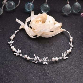 цена на TRiXY SH132 Rhinestone Belts Wedding Belts Pearls Wedding Sash Belt for Bride Bridesmaid Wedding Accessories Thin Bridal Belts