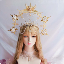 New Gothic Lolita KC Gothic Gold Halo Angel Wings Sun Godmother's Virgin Mary Goddess Headpiece Bead Bride Hair Accessories