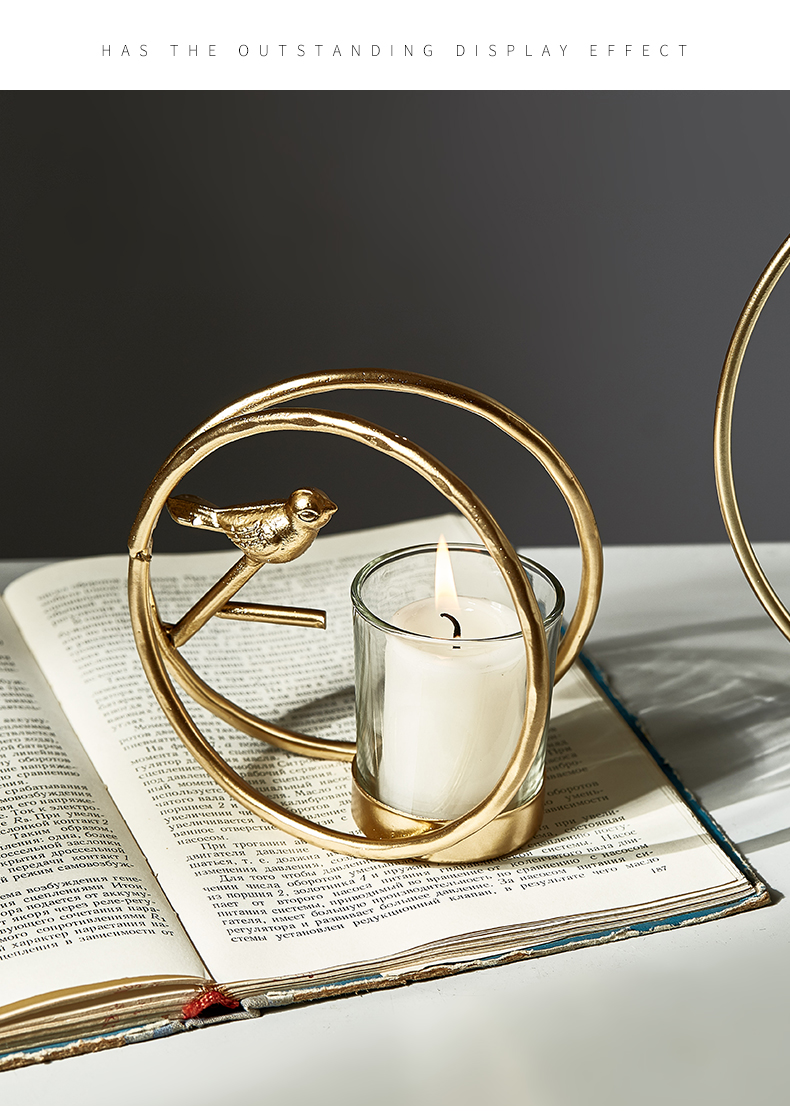 Nordic style Bird cage shaped candlestick home decoration accessories Living room bedroom dining table Romantic couple dating
