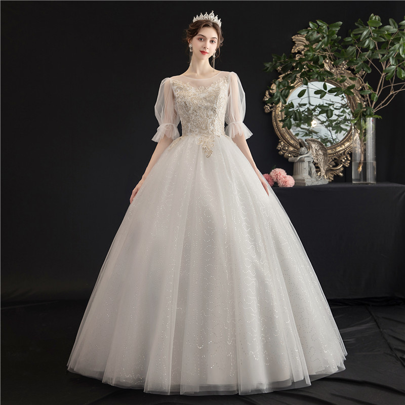 Mrs Win Wedding Dress 2020 The Classic Half Sleeve Floor-length Lace Up Ball Gown Bling Bling Vintage Lace Wedding Dresses H107